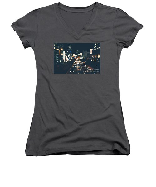 Women's V-Neck T-Shirt (Junior Cut) featuring the photograph City Lights by MGL Meiklejohn Graphics Licensing