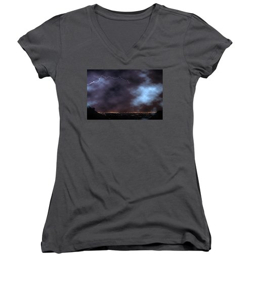 Women's V-Neck T-Shirt (Junior Cut) featuring the photograph City Lights Night Strike by James BO Insogna