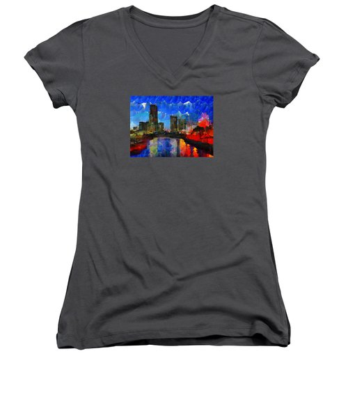 City Living - Tokyo - Skyline Women's V-Neck T-Shirt (Junior Cut) by Sir Josef - Social Critic - ART