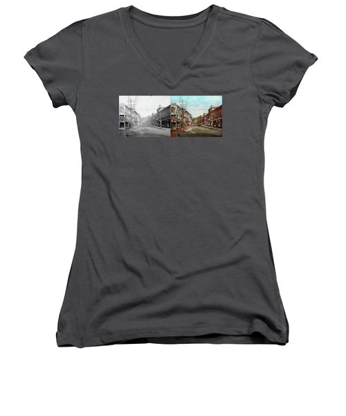 Women's V-Neck T-Shirt featuring the photograph City - Ma Glouster - A Little Bit Of Everything 1910 - Side By Side by Mike Savad