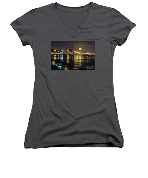 Women's V-Neck T-Shirt (Junior Cut) featuring the photograph City Moon by Brian Wright