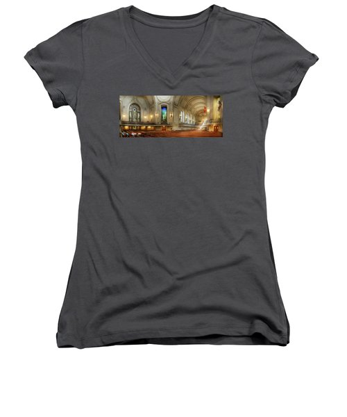 Women's V-Neck T-Shirt featuring the photograph City - Naval Academy - God Is My Leader by Mike Savad