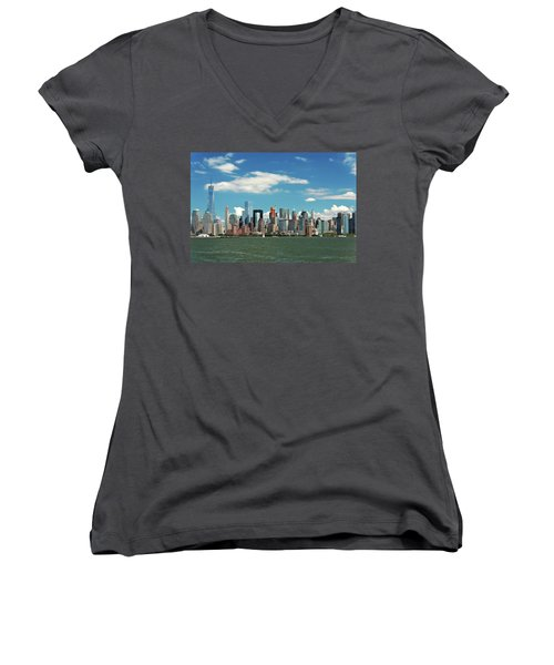Women's V-Neck T-Shirt (Junior Cut) featuring the photograph City - New York Ny - The New York Skyline by Mike Savad