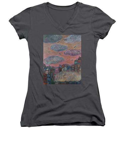 City Of Clouds Women's V-Neck