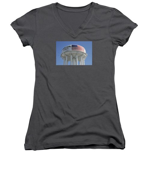 Women's V-Neck T-Shirt (Junior Cut) featuring the photograph City Of Cocoa Water Tower by Bradford Martin