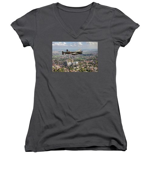 Women's V-Neck T-Shirt featuring the photograph City Of Lincoln Vn-t Over The City Of Lincoln by Gary Eason