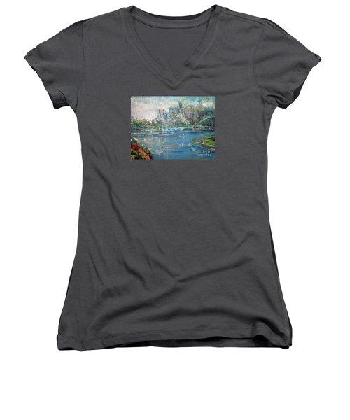 City On The Bay Women's V-Neck T-Shirt (Junior Cut) by John Fish