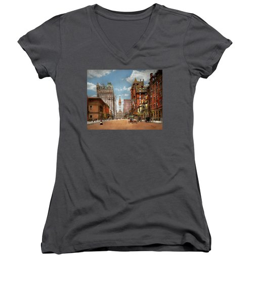 Women's V-Neck T-Shirt featuring the photograph City - Pa Philadelphia - Broad Street 1905 by Mike Savad