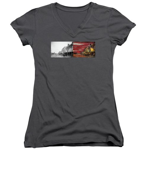 Women's V-Neck T-Shirt (Junior Cut) featuring the photograph City - Palmerston North Nz - The Shopping District 1908 - Side By Side by Mike Savad