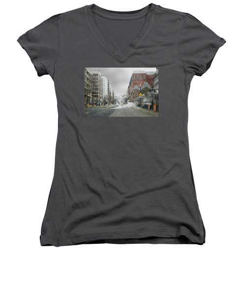 Women's V-Neck T-Shirt (Junior Cut) featuring the photograph City Street On A Rainy Day by Francesa Miller