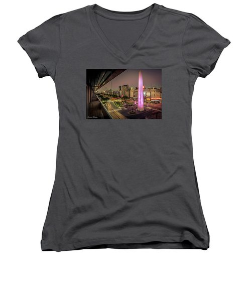 Women's V-Neck T-Shirt (Junior Cut) featuring the photograph City Sunset by Andrew Matwijec