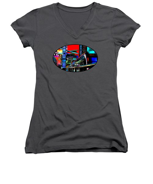 Women's V-Neck T-Shirt (Junior Cut) featuring the photograph City Tansit Pop Art by Phyllis Denton