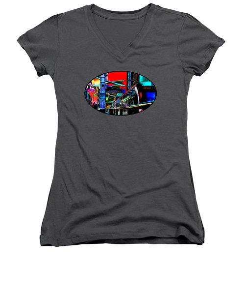 City Tansit Pop Art Women's V-Neck T-Shirt