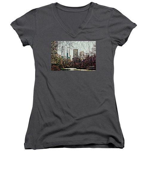 City View From Park Women's V-Neck T-Shirt (Junior Cut) by Sandy Moulder