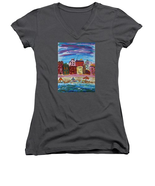 City With A Pink Boardwalk Women's V-Neck T-Shirt (Junior Cut) by Mary Carol Williams