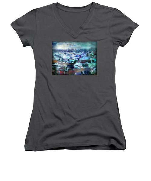Women's V-Neck T-Shirt (Junior Cut) featuring the photograph Cityscape #41 - Blue Whispers by Alfredo Gonzalez