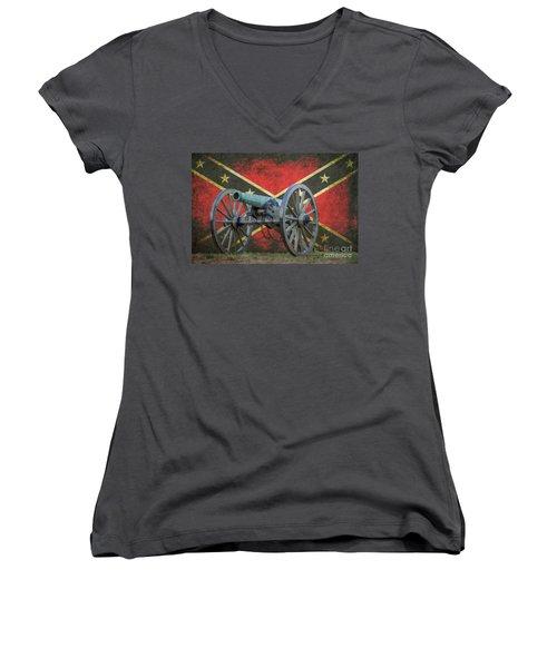 Civil War Cannon Rebel Flag Women's V-Neck (Athletic Fit)