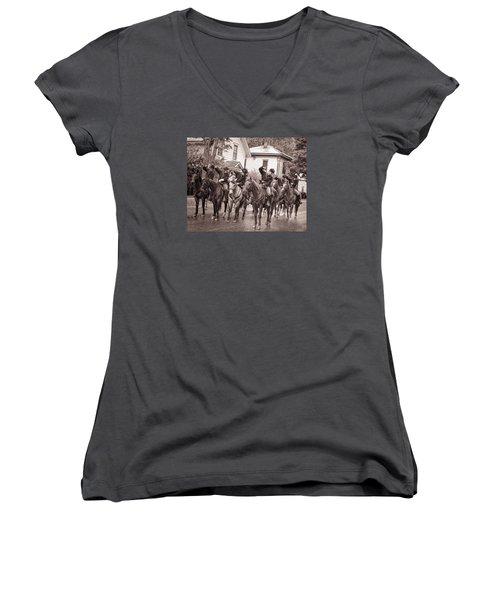 Civil War Soldiers On Horses Women's V-Neck T-Shirt (Junior Cut) by Rena Trepanier