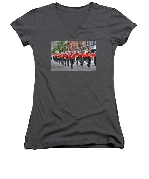 Clarinda Iowa Marching Band Women's V-Neck (Athletic Fit)