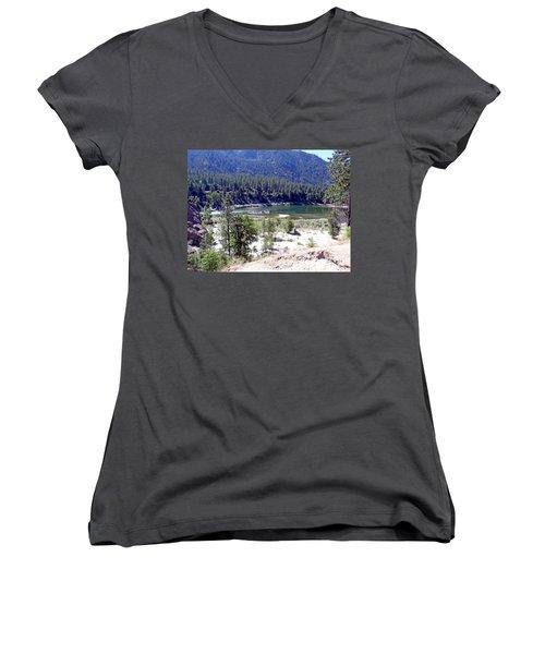 Clark Fork River Missoula Montana Women's V-Neck T-Shirt