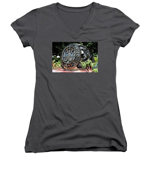 Class Ring Women's V-Neck T-Shirt (Junior Cut) by Ed Waldrop