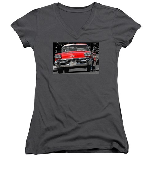 Classic Car Women's V-Neck T-Shirt (Junior Cut) by Raymond Earley
