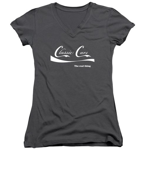 Classic Cars Women's V-Neck T-Shirt (Junior Cut) by Dennis Hedberg
