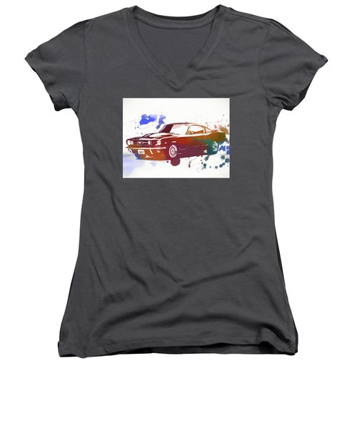 Classic Ford Mustang Watercolor Splash Women's V-Neck T-Shirt (Junior Cut) by Dan Sproul