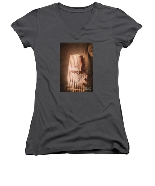 Women's V-Neck T-Shirt featuring the photograph Classic Hollywood Flicks by Jorgo Photography - Wall Art Gallery