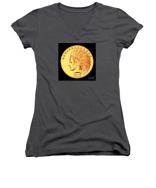 Classic Indian Head Gold Women's V-Neck T-Shirt