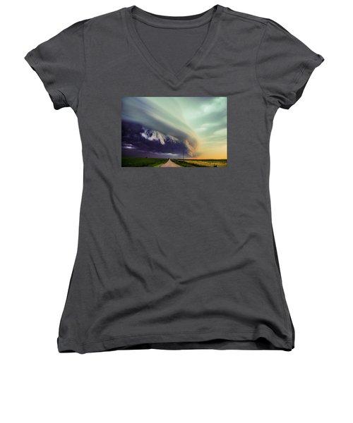 Classic Nebraska Shelf Cloud 024 Women's V-Neck