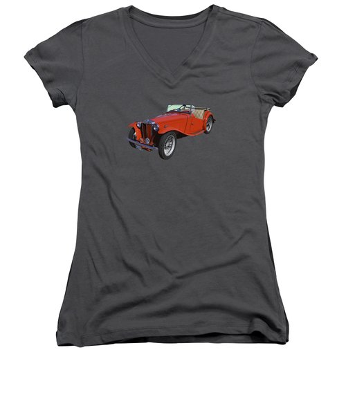Classic Red Mg Tc Convertible British Sports Car Women's V-Neck T-Shirt (Junior Cut) by Keith Webber Jr