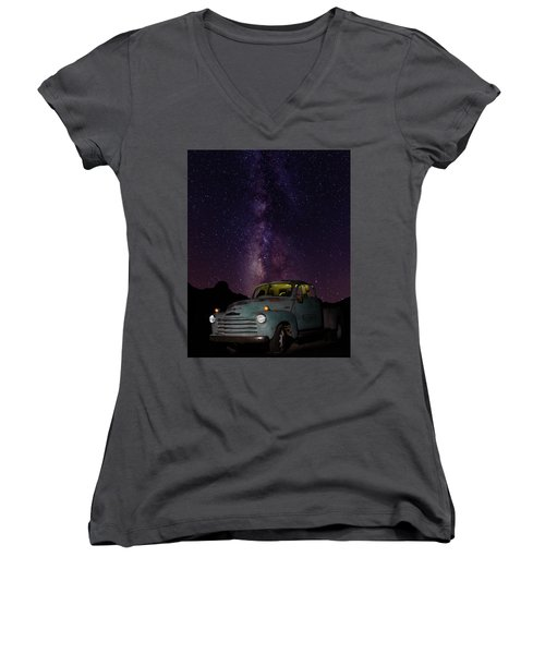Classic Truck Under The Milky Way Women's V-Neck