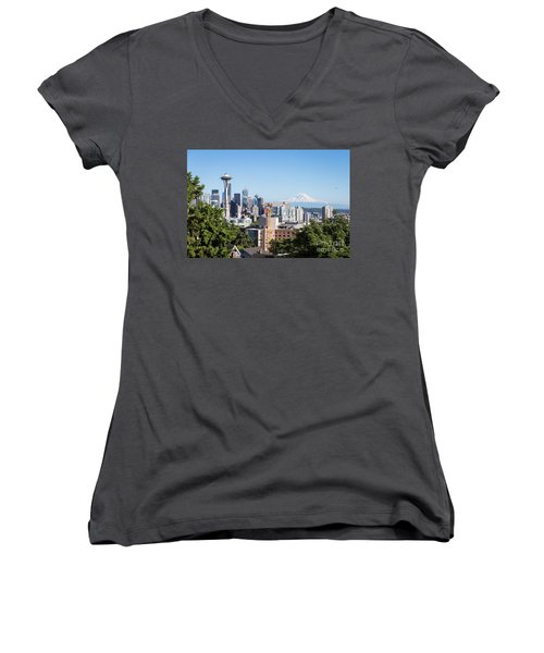 Classic View Of Seattle, Usa Women's V-Neck
