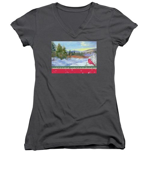Classic Winterscape With Cardinal And Reindeer Women's V-Neck T-Shirt (Junior Cut) by Judith Cheng