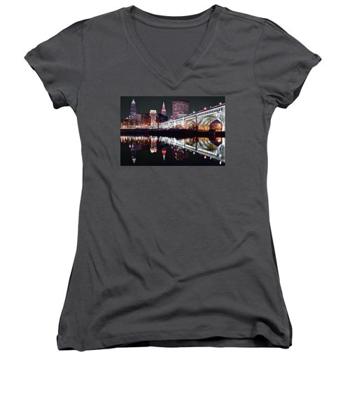 Women's V-Neck T-Shirt (Junior Cut) featuring the photograph Cle In Selective Color by Frozen in Time Fine Art Photography