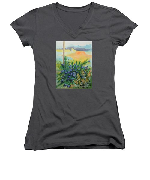 Women's V-Neck T-Shirt (Junior Cut) featuring the painting Cleansed by Holly Carmichael