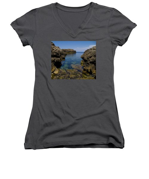 Clear Water Of Mallorca Women's V-Neck T-Shirt (Junior Cut) by Anastasy Yarmolovich