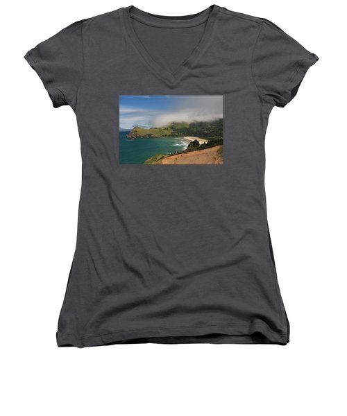 Clearing Fog Along The Oregon Coast Women's V-Neck (Athletic Fit)