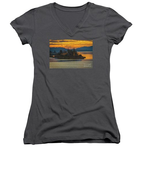 Clearlake Gold Women's V-Neck T-Shirt (Junior Cut) by Mitch Shindelbower