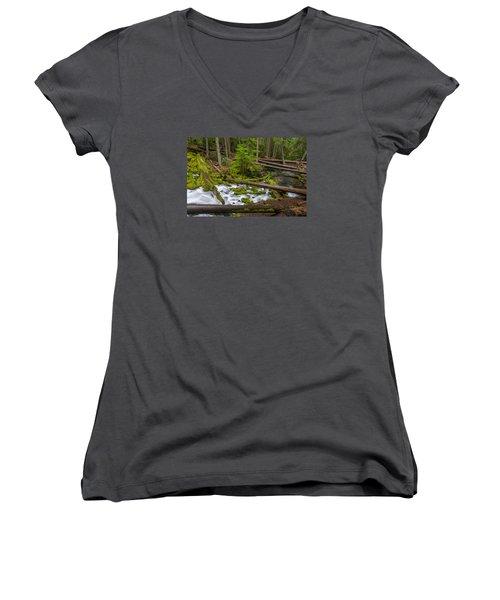 Clearwater Creek Rapids Women's V-Neck T-Shirt (Junior Cut) by Greg Nyquist