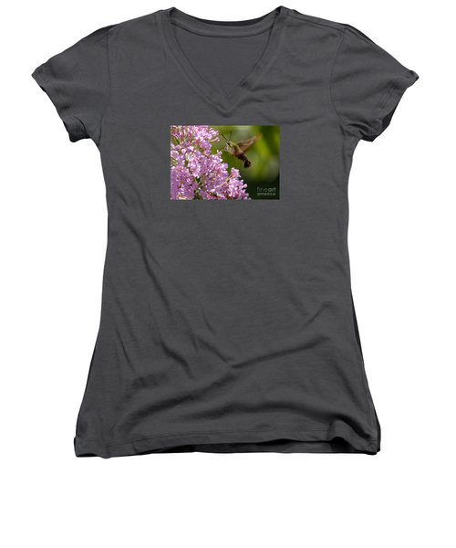 Women's V-Neck T-Shirt (Junior Cut) featuring the photograph Clearwing Pink by Randy Bodkins