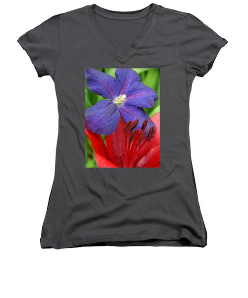Clematis And Lily Women's V-Neck T-Shirt (Junior Cut) by Rebecca Overton