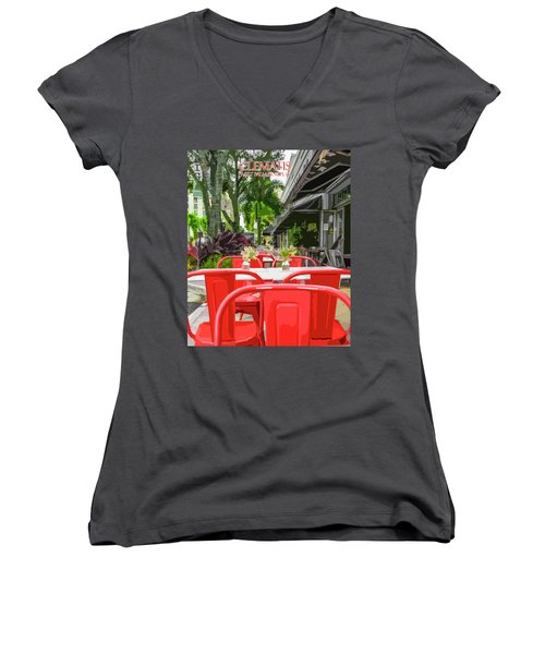 Clematis By Day Women's V-Neck T-Shirt (Junior Cut) by Josy Cue