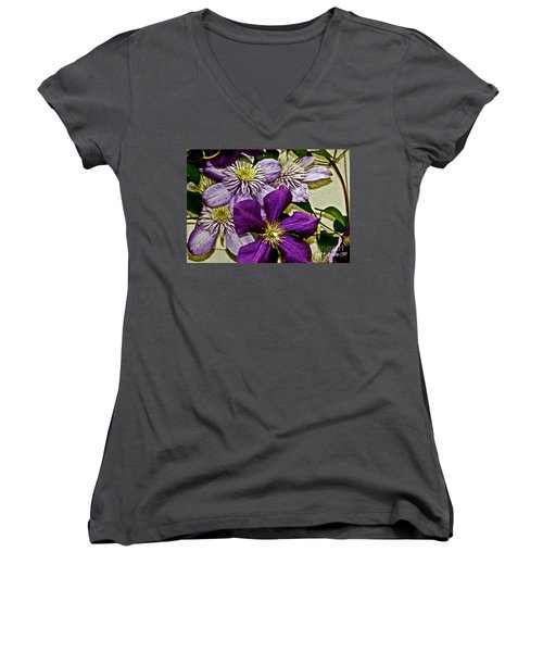Purple Clematis Flower Vines Women's V-Neck T-Shirt (Junior Cut) by Carol F Austin