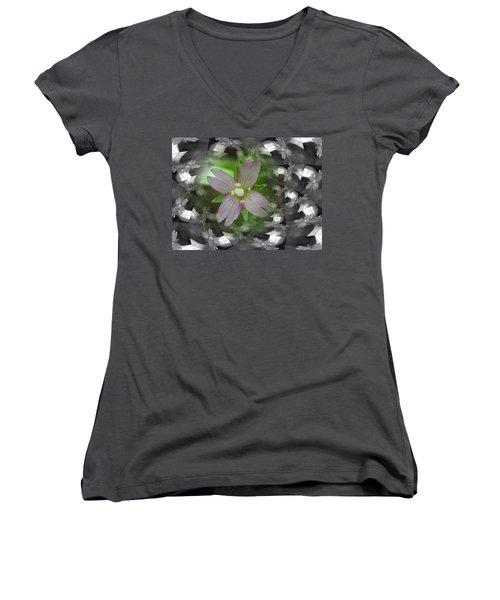 Clematis Women's V-Neck T-Shirt (Junior Cut) by Keith Elliott