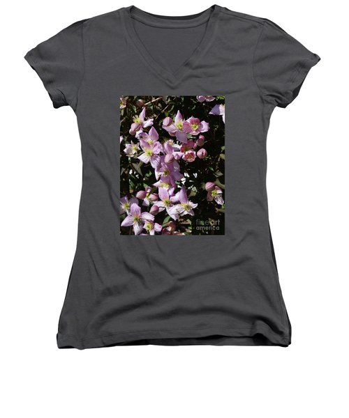 Clematis Montana  In Full Bloom Women's V-Neck