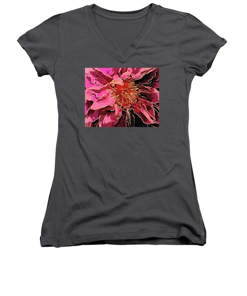 Clematis Up Close And Personal Women's V-Neck (Athletic Fit)