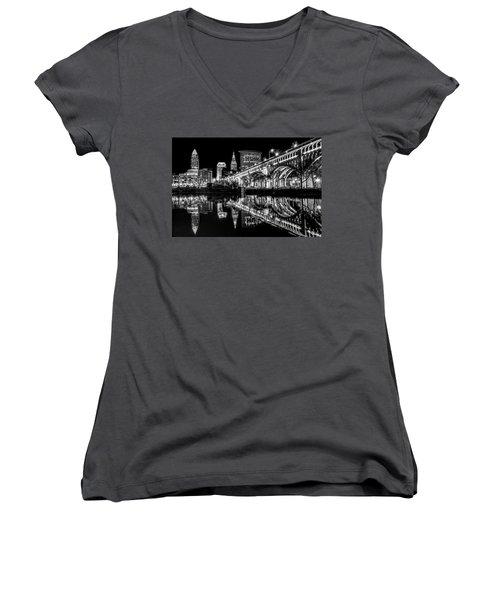 Women's V-Neck T-Shirt (Junior Cut) featuring the photograph Cleveland After Dark by Brent Durken