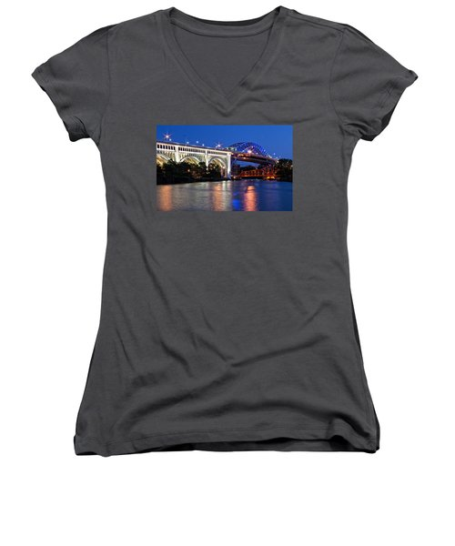 Women's V-Neck featuring the photograph Cleveland Colored Bridges by Dale Kincaid